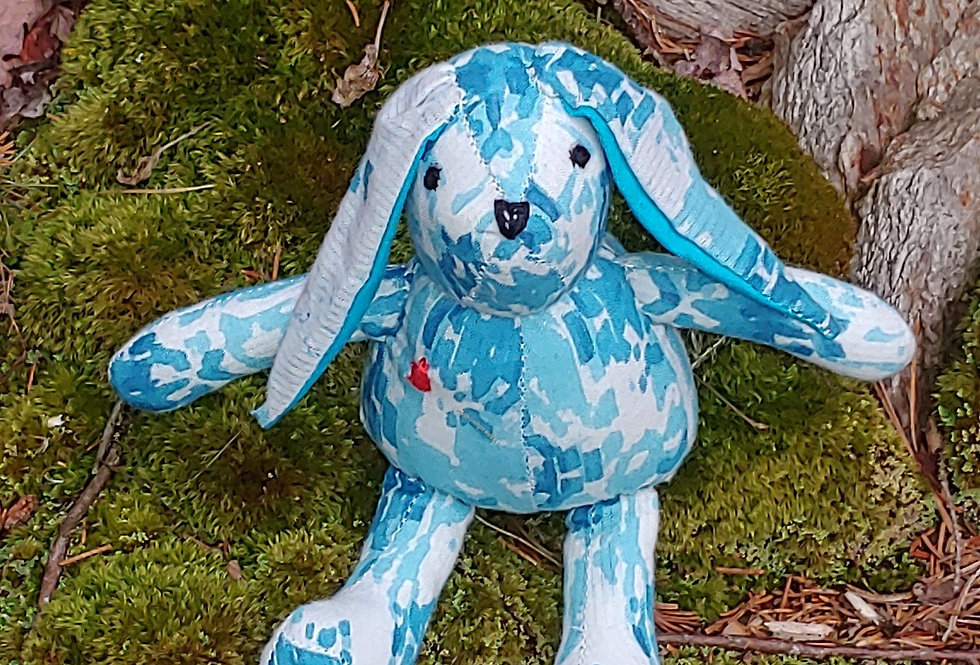 Small Rabbit White with Blue Pattern
