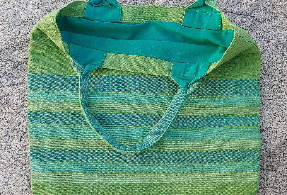 Dark Lime Green Cotton Carry Bag with Blue Stripes