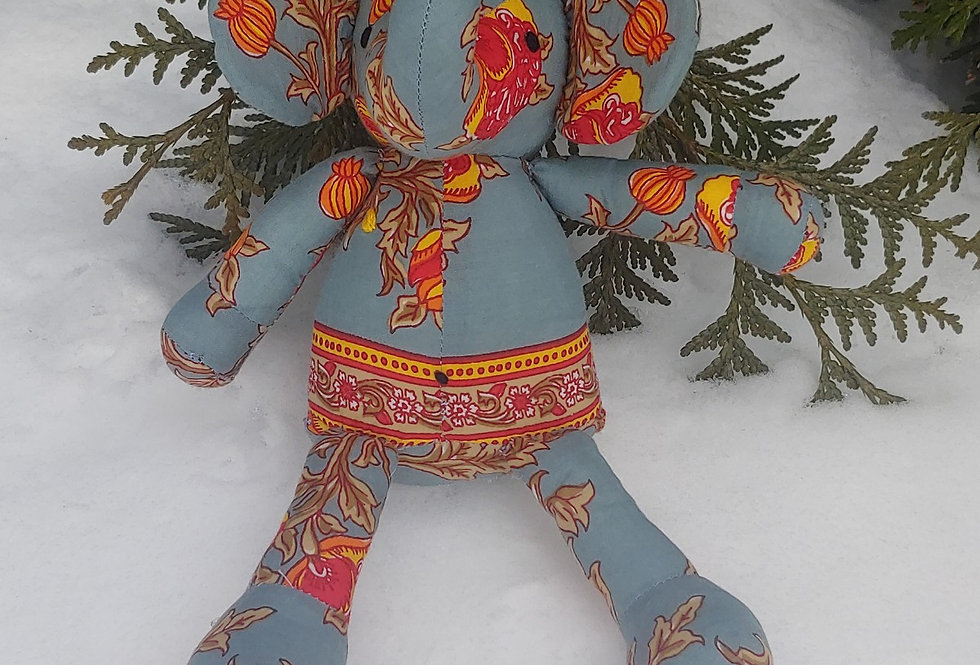 Large Elephant Blue Grey with Red Floral Design