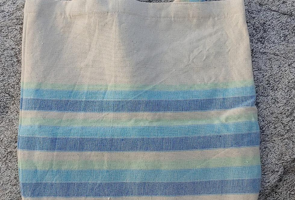 Handwoven Cotton Carry Bag Ocean Stripe