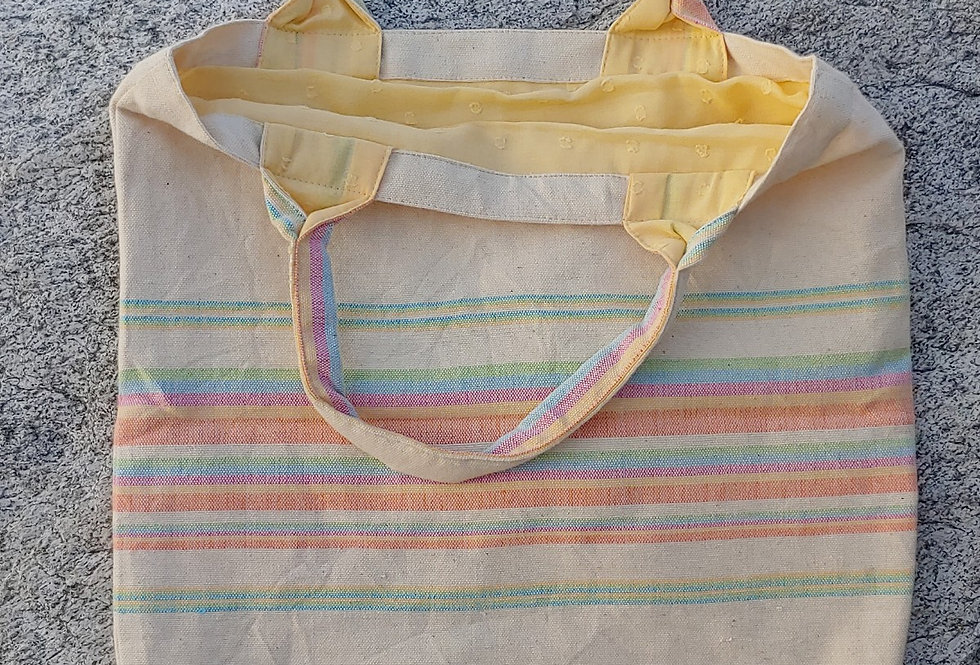 Handwoven Cotton Carry Bag with rainbow Stripes