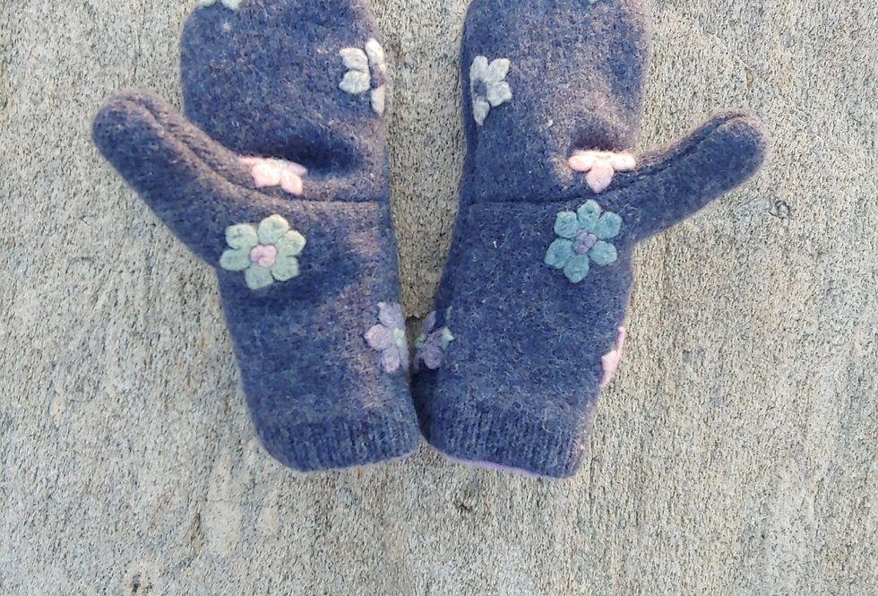Blue Wool Mittens with Flowers and Cashmere Lining