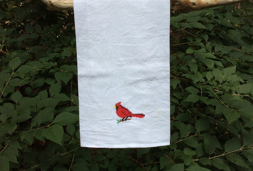 Cardinal - Hand Embroidered Towel