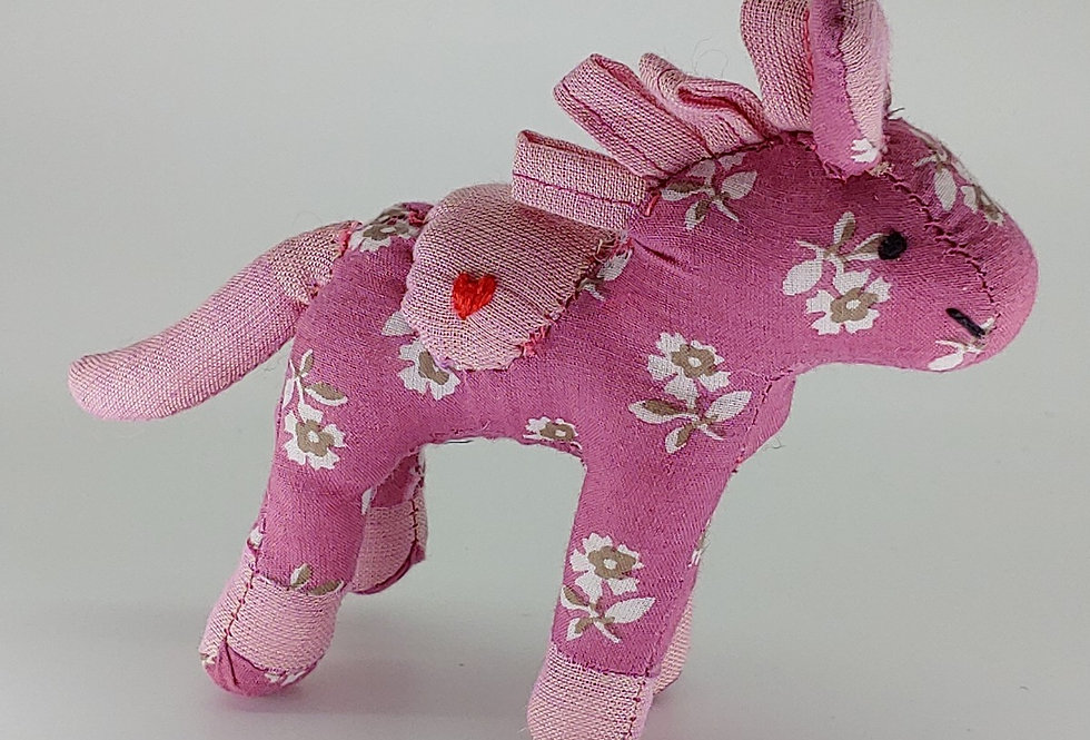Small Horse - Pink with white and grey flowers