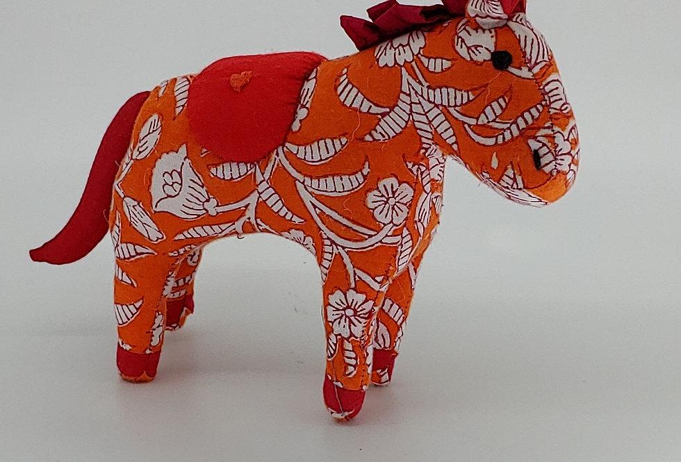 Medium Horse -Orange with White Flower design