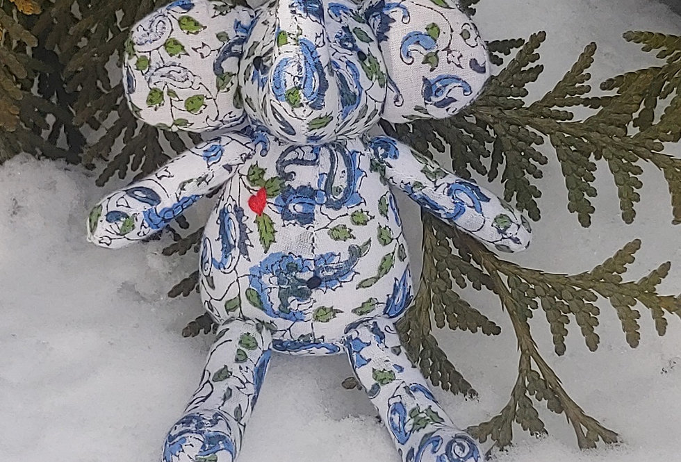 Small Elephant White with Blue Green Floral Design