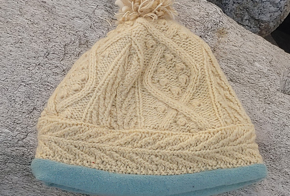 Fisherman Knit Wool Hat with Cashmere Lining