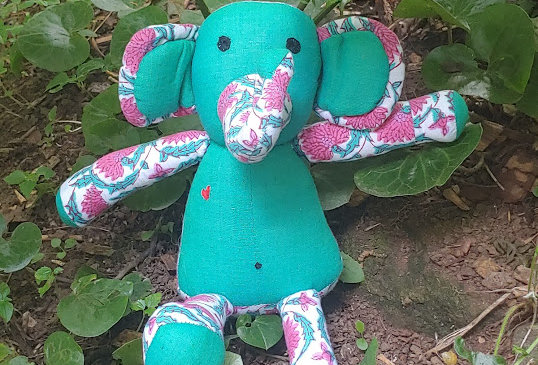 Large Elephant - Green with Pink Flowers