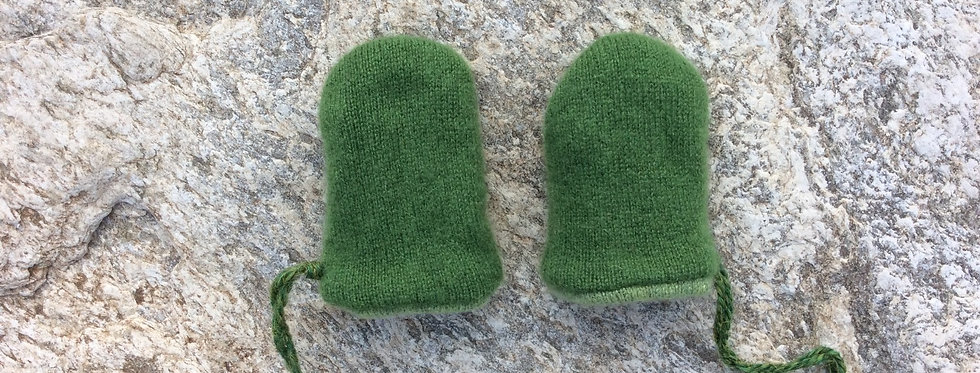Cashmere Baby Mittens - Olive with Light Olive