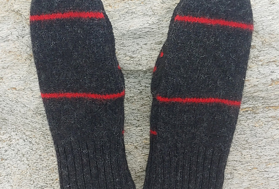 Dark Grey Wool Mittens with Red Stripe,Suede Palm and Cashmere Lining
