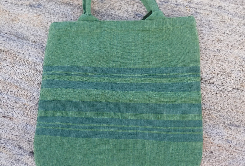 Handwoven Carry Bag Olive with dark Green Stripe