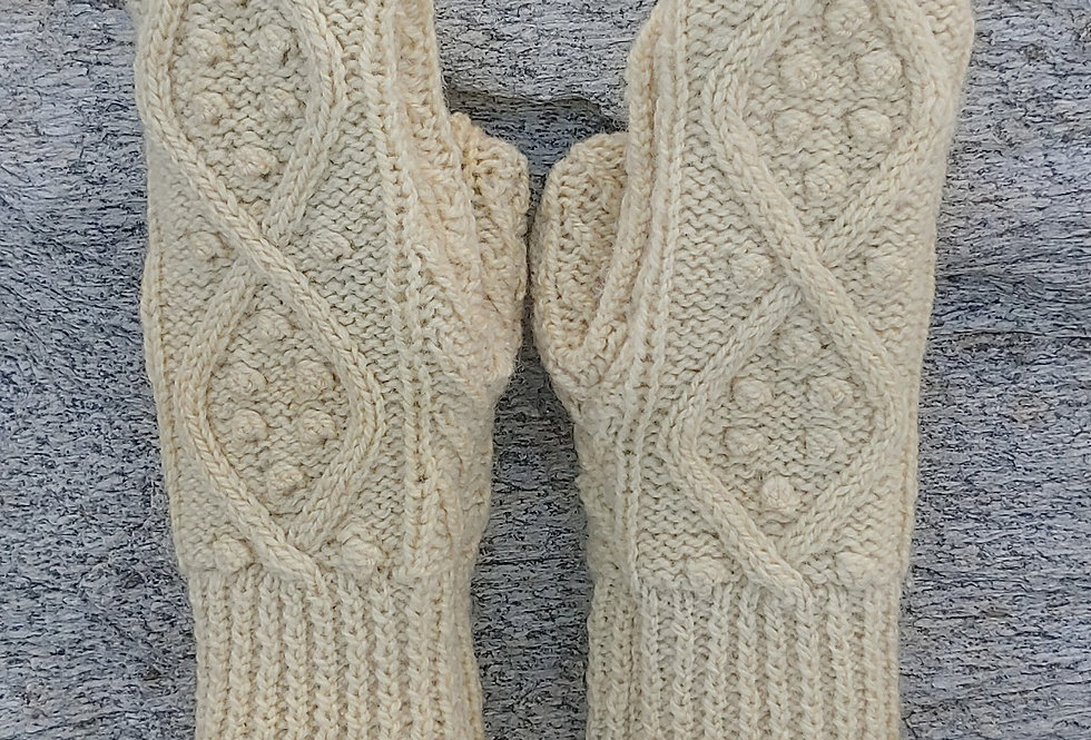 Fisherman knit Mittens with Cashmere Lining