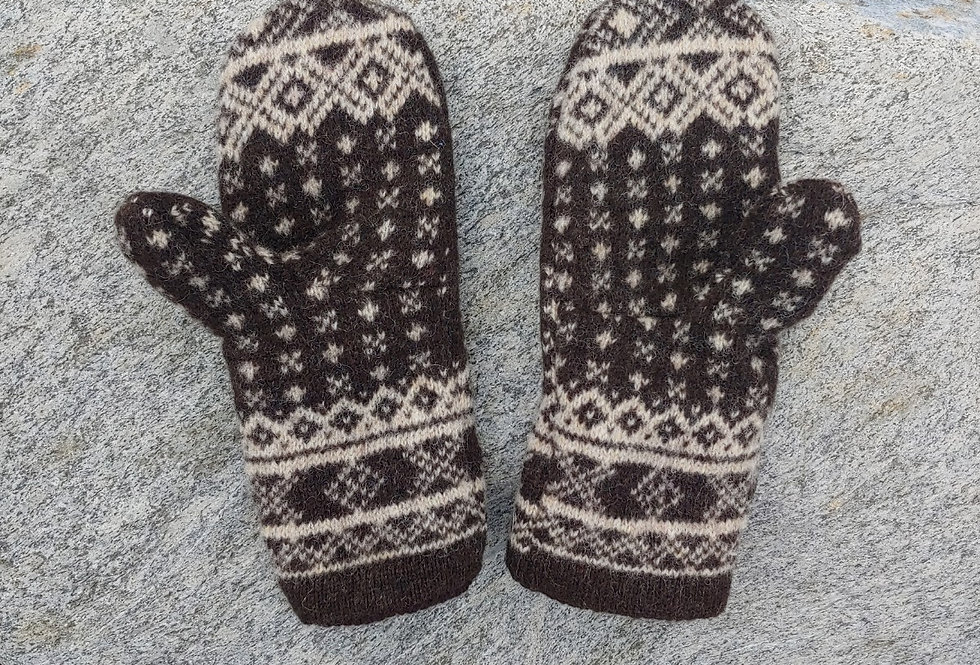 Brown and White Patterned Wool Mittens with Cashmere Lining
