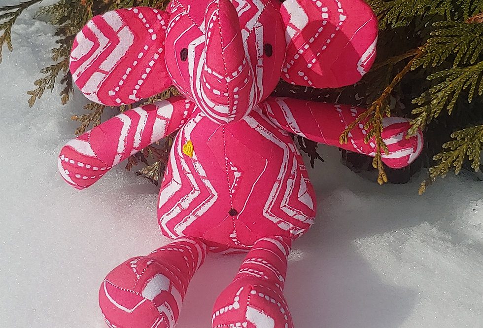 Large Elephant Pink with White Zig Zag Design