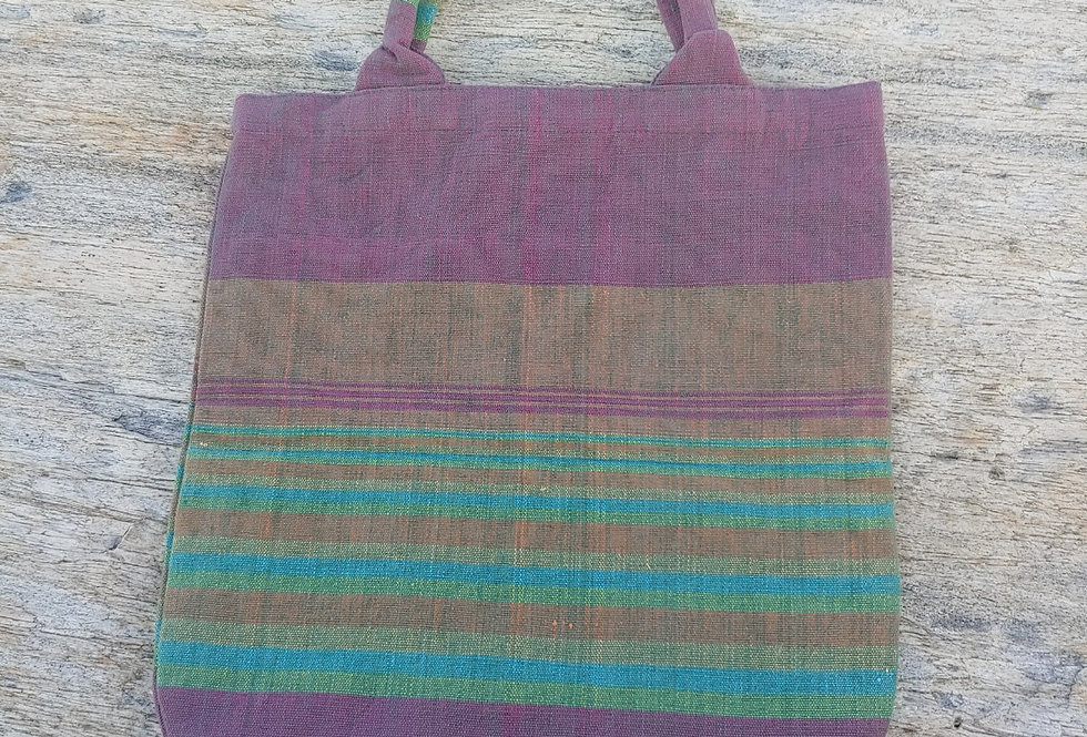 Handwoven Cotton Carry Bag Plum with Assorted Stripes