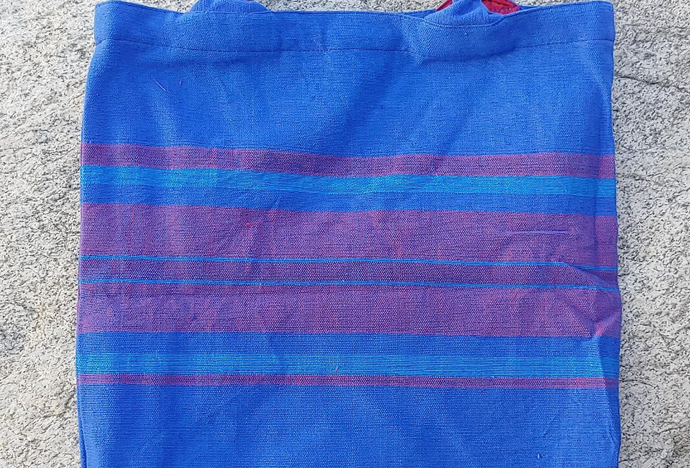 Handwoven Cotton Carry Bag Blue/ Red Stripe