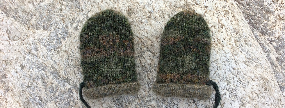 Baby Mittens - Dark Olive Print Wool with Light Olive Cashmere Lining