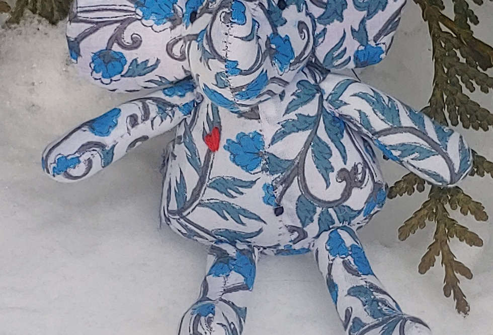 Small Elephant White with Blue Floral