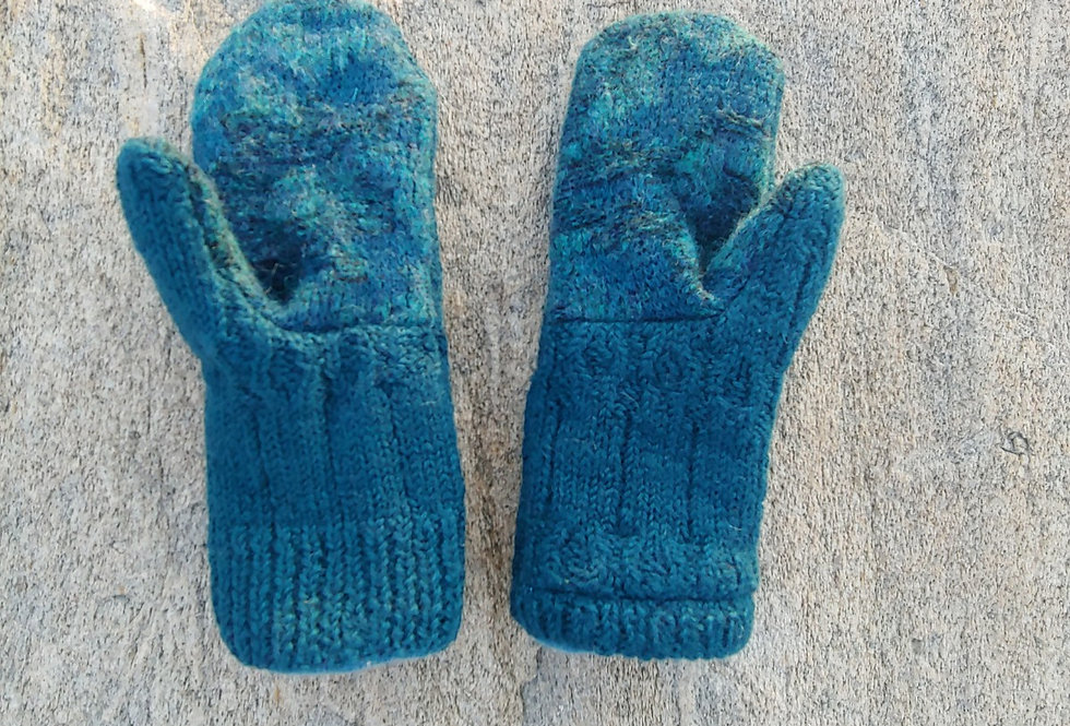 Blue Green Textured Wool Mitten with Cashmere Lining