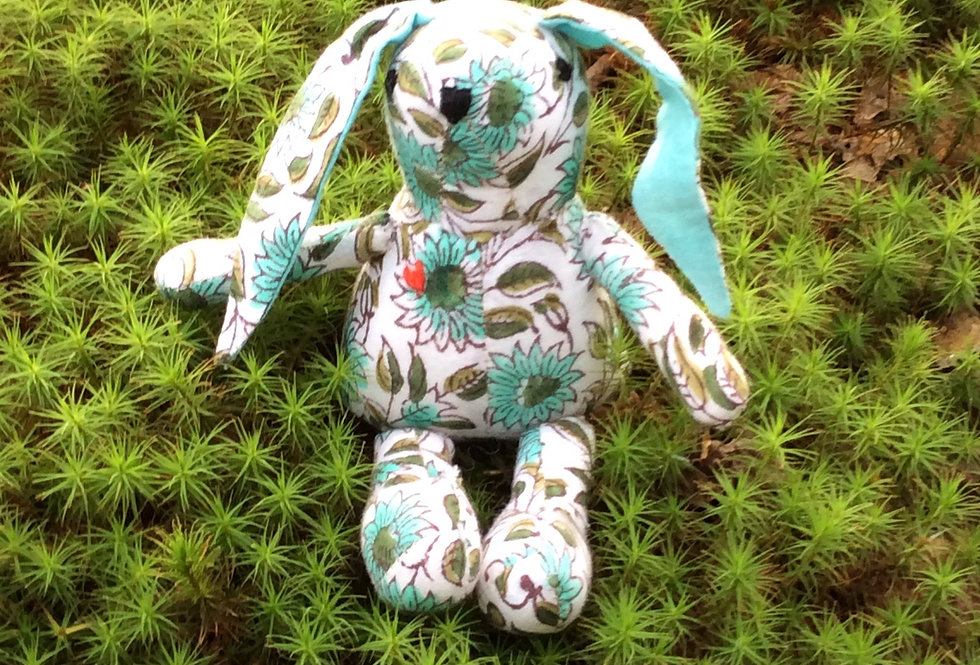 Small Rabbit - White with Light Green Design