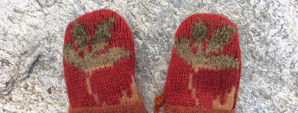 Baby Mittens - Harvest Flower with Rust Color Cashmere Lining