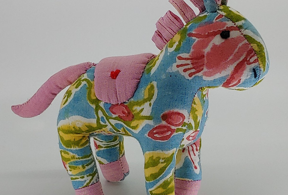 Medium Horse - Pink, Blue and green pattern