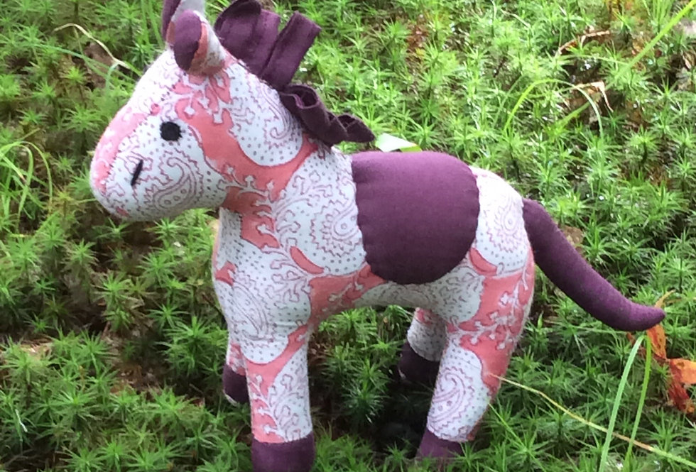 Medium Horse -rose and white design with maroon accents