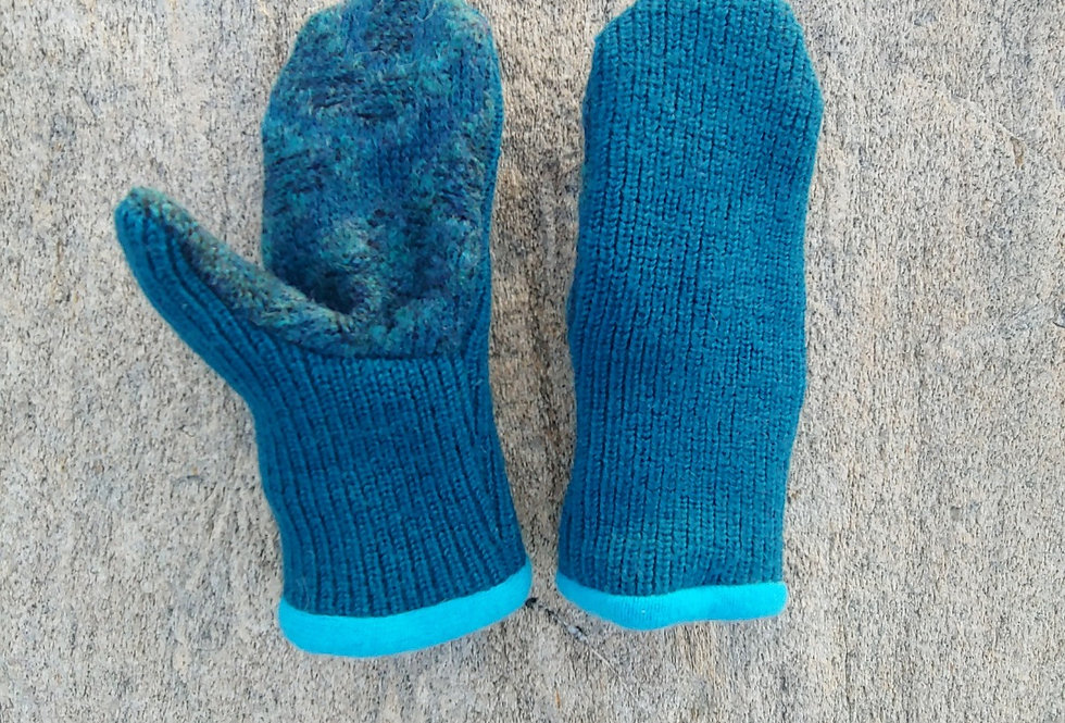 Blue Green Ribbed Wool Mitten with Cashmere Lining