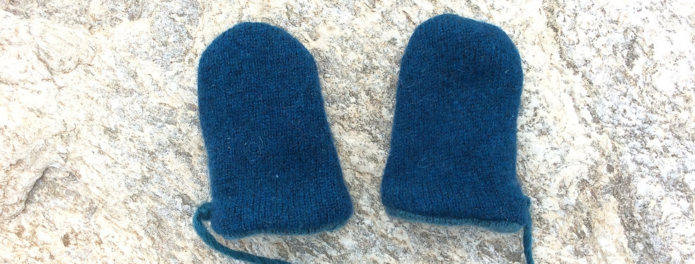 Cashmere Baby Mittens - Dark Blue Green with Light Blue Green lining