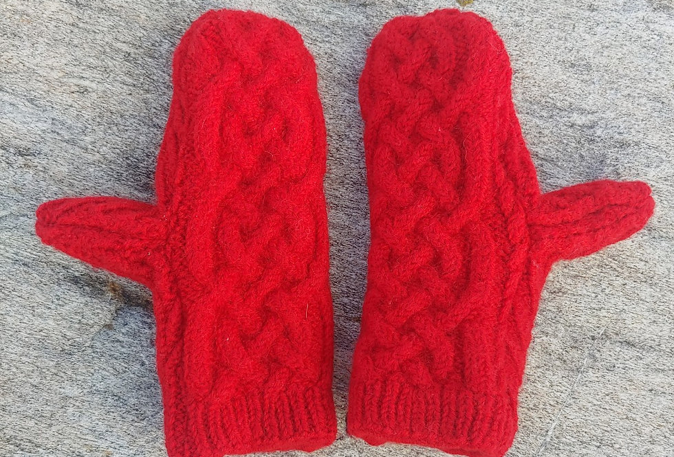 Red Cable Wool Mittens with Cashmere Lining