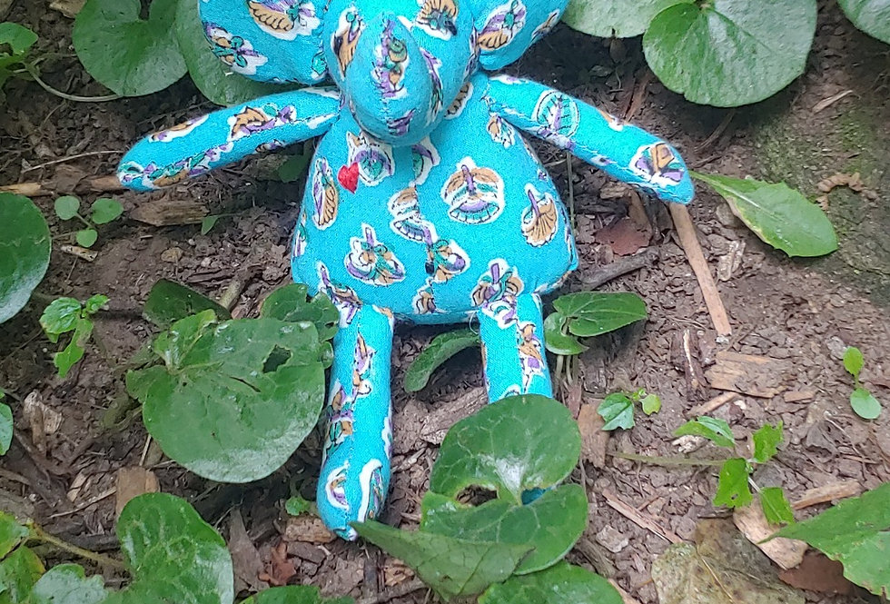 Small Elephant - Blue with Flower pattern
