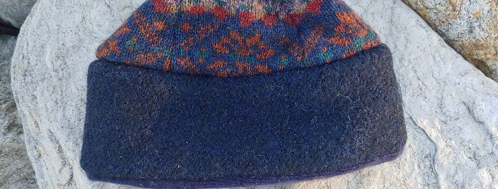 Patterned Wool Cap with Cashmere Lining