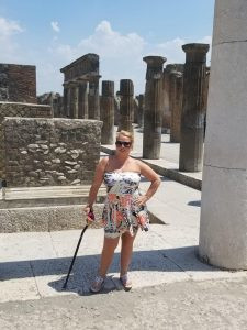 Maryann in Greece with cane