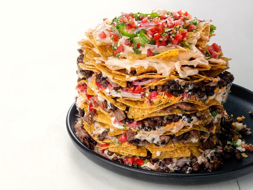 Piled high trashcan nachos