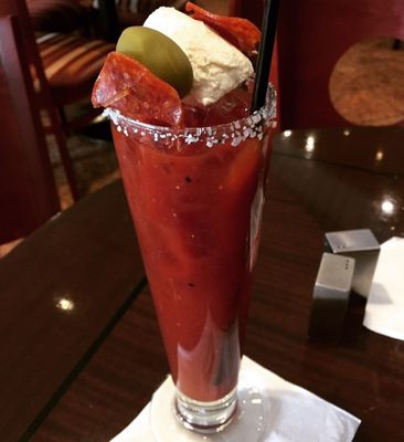 A tall, top-heavy Bloody Mary from the Palomino
