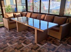 Диван угловой + стол из искусственного р