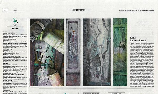 Ausstellung Rollbilder Ankündigung in der Süddeutschen Zeitung