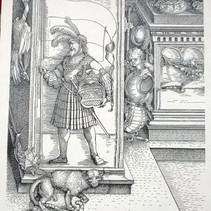 Original ca. 1515, Teil des großen Triumphbogens, Sockel der rechten Mittelsäule