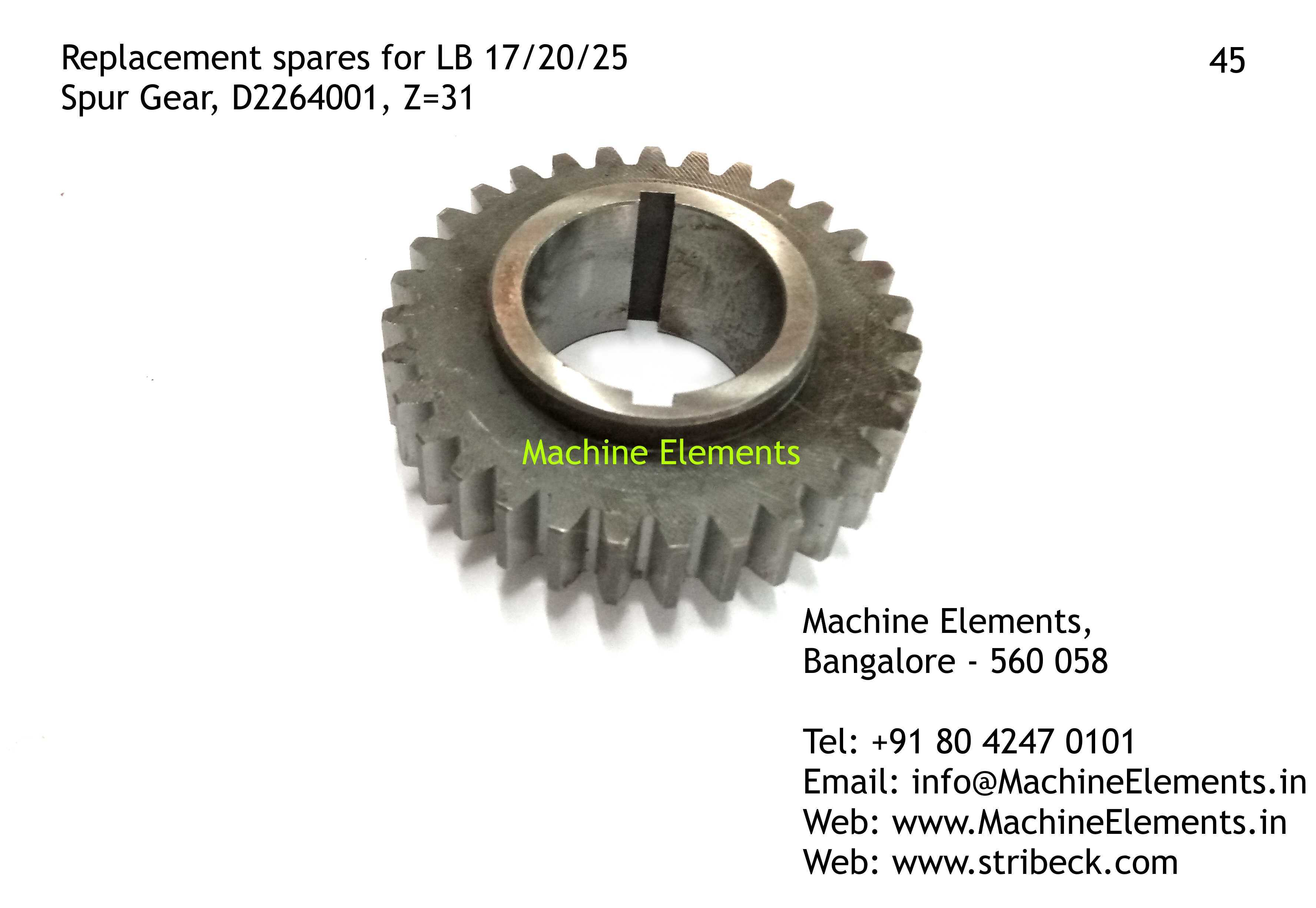 Spur Gear, D2264001, Z=31