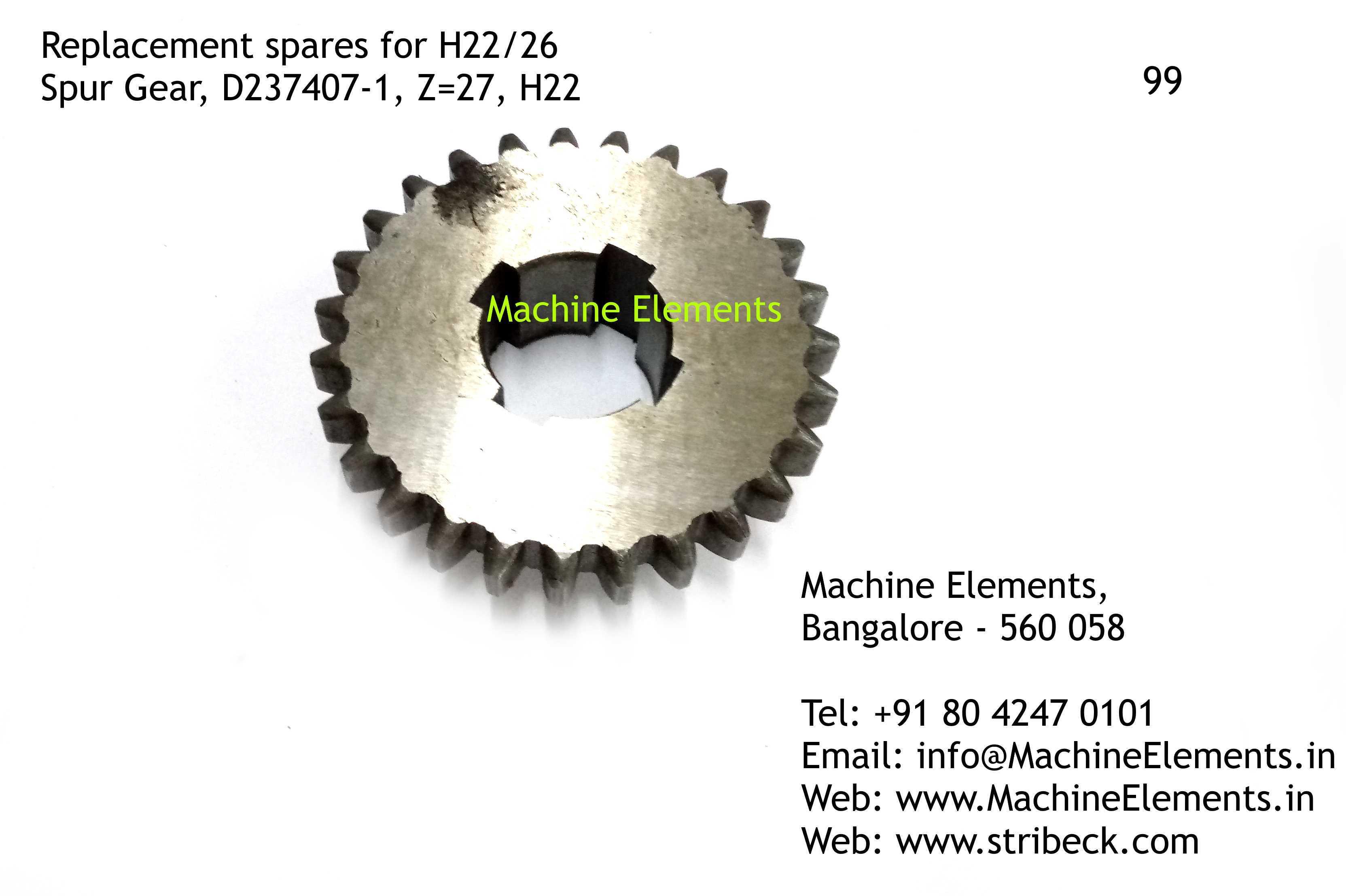 Spur Gear, D237407-1, Z=27