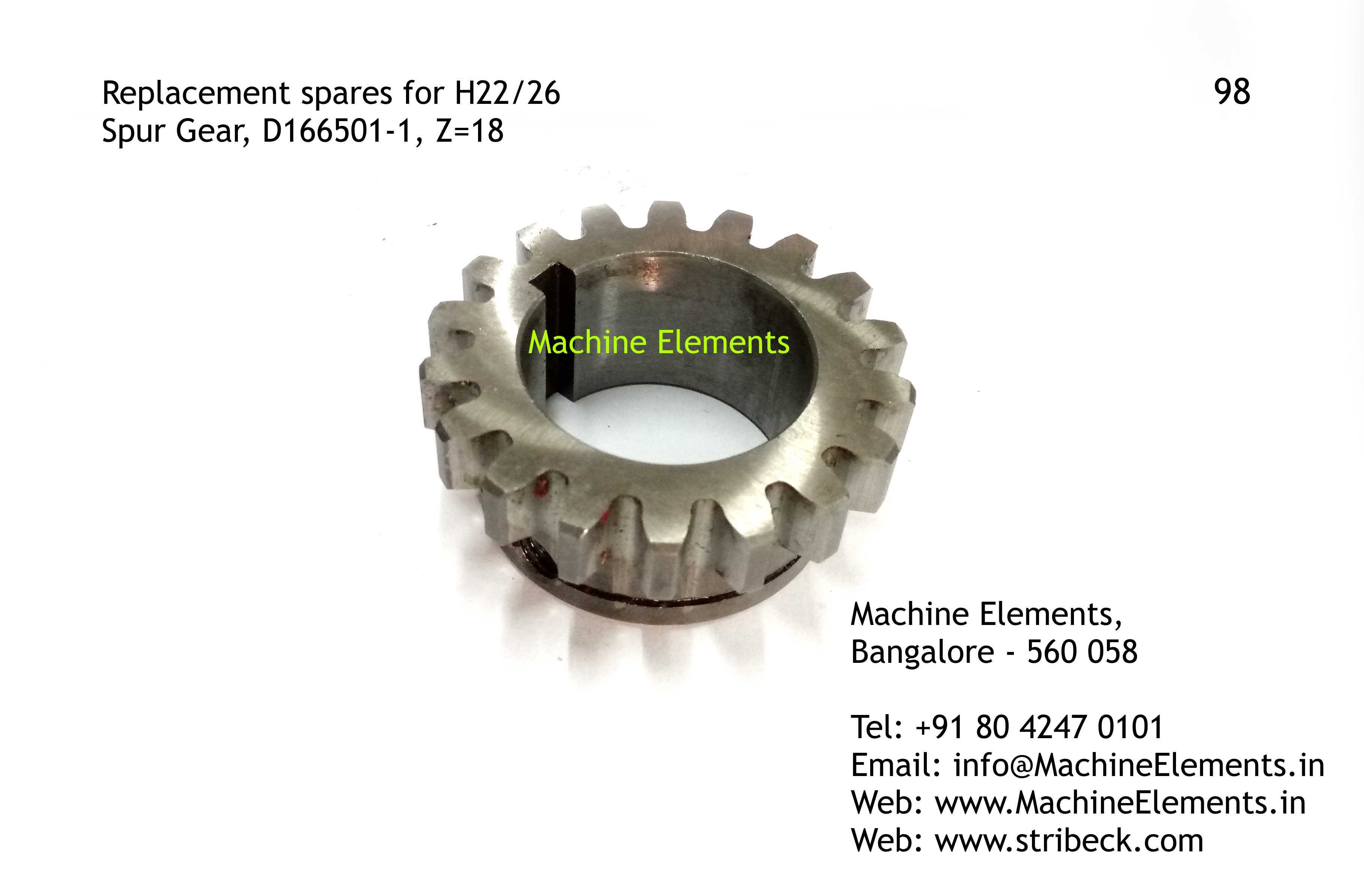Spur Gear, D166501-1, Z=18