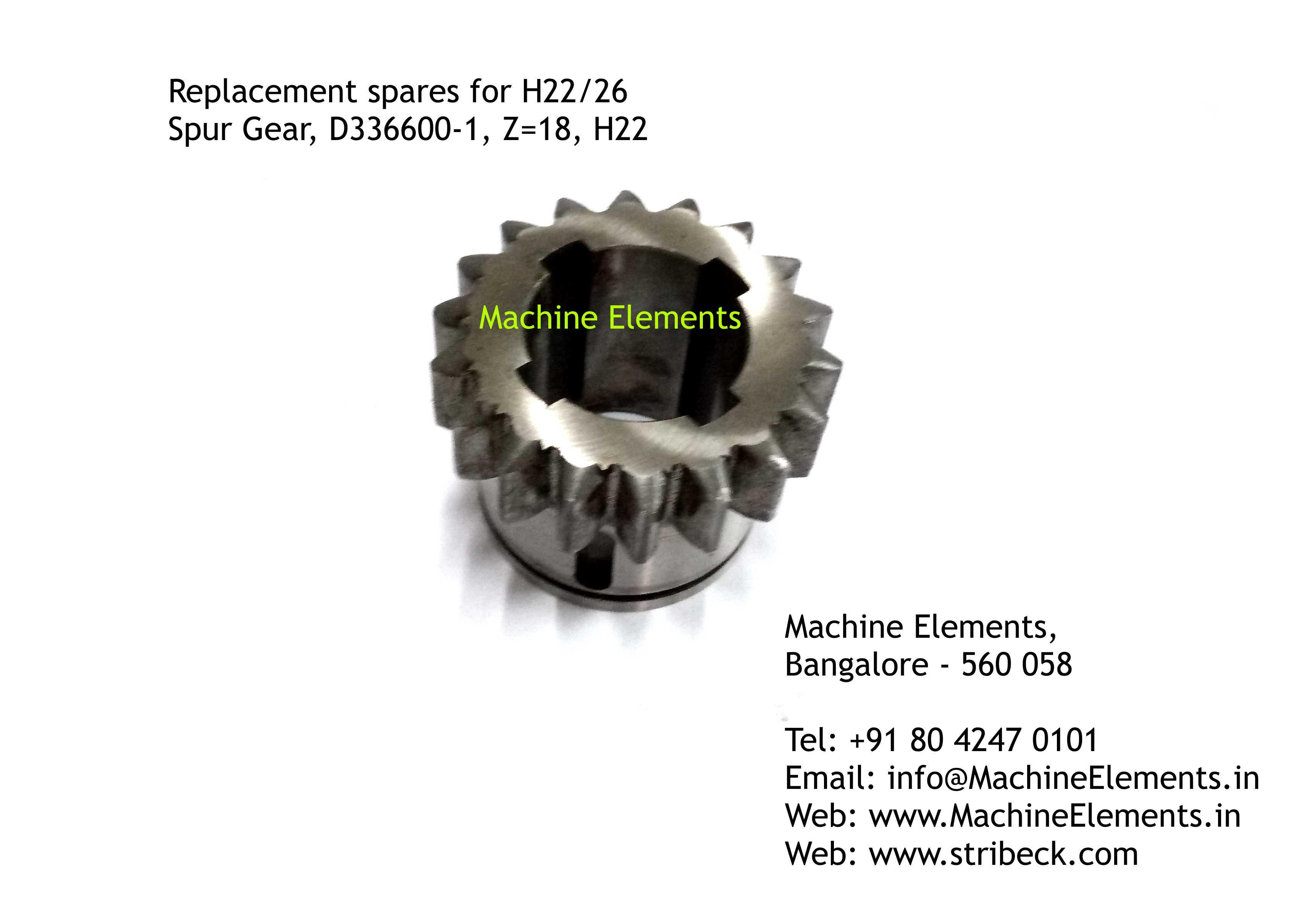 Spur Gear, D336600-1, Z=18, H22