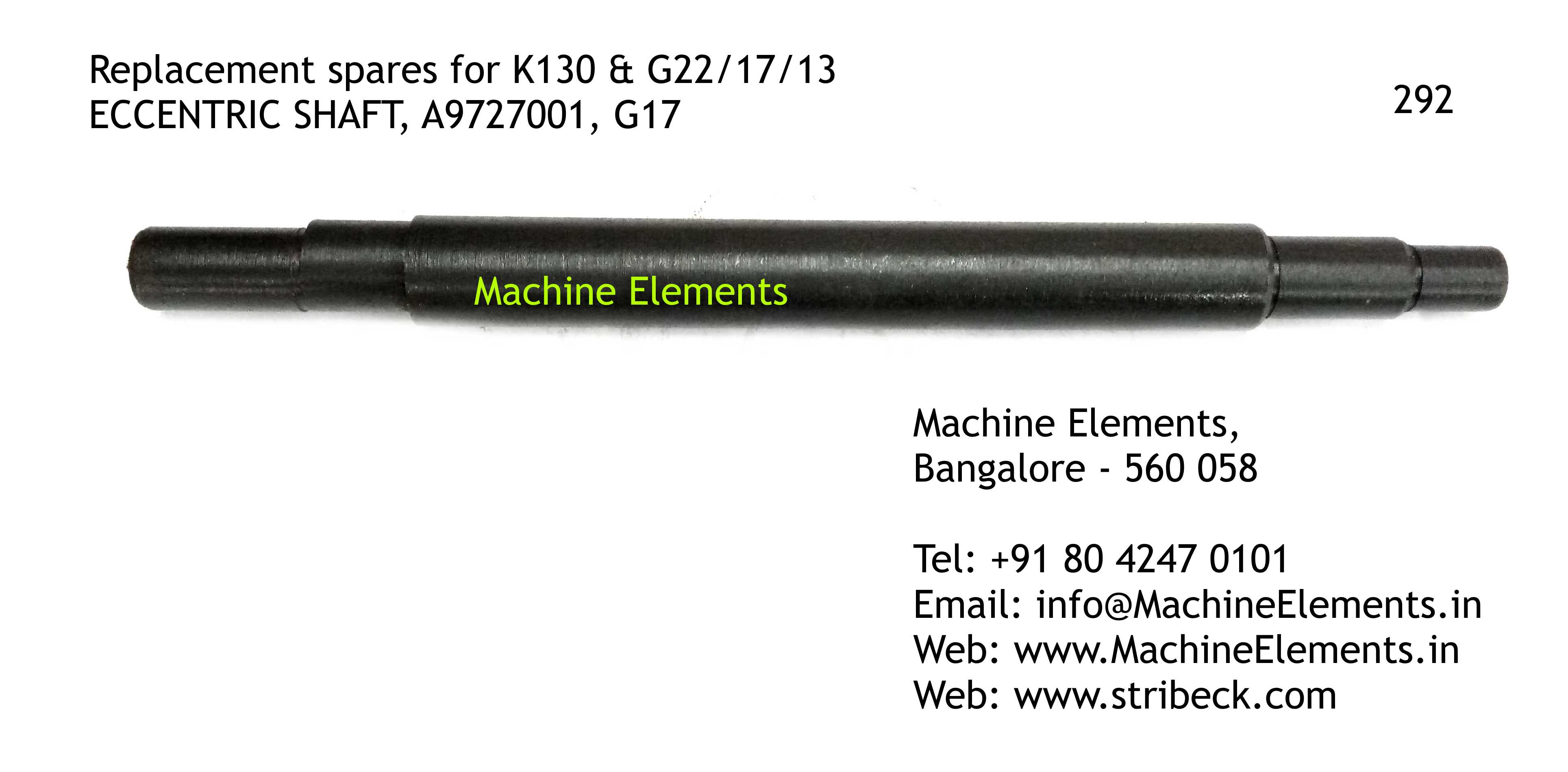ECCENTRIC SHAFT, A9727001, G17