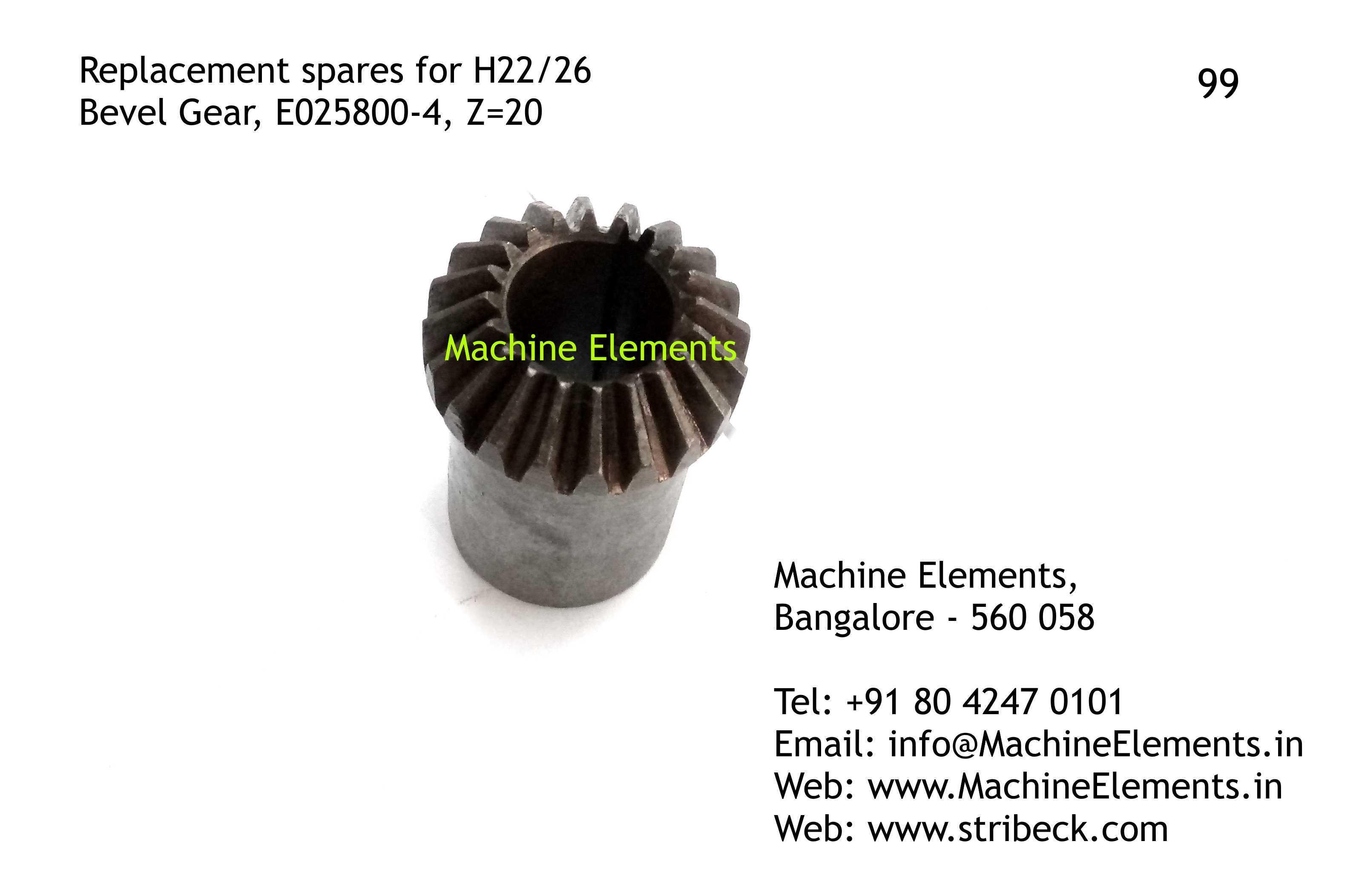 Bevel Gear, E025800-4, Z=20