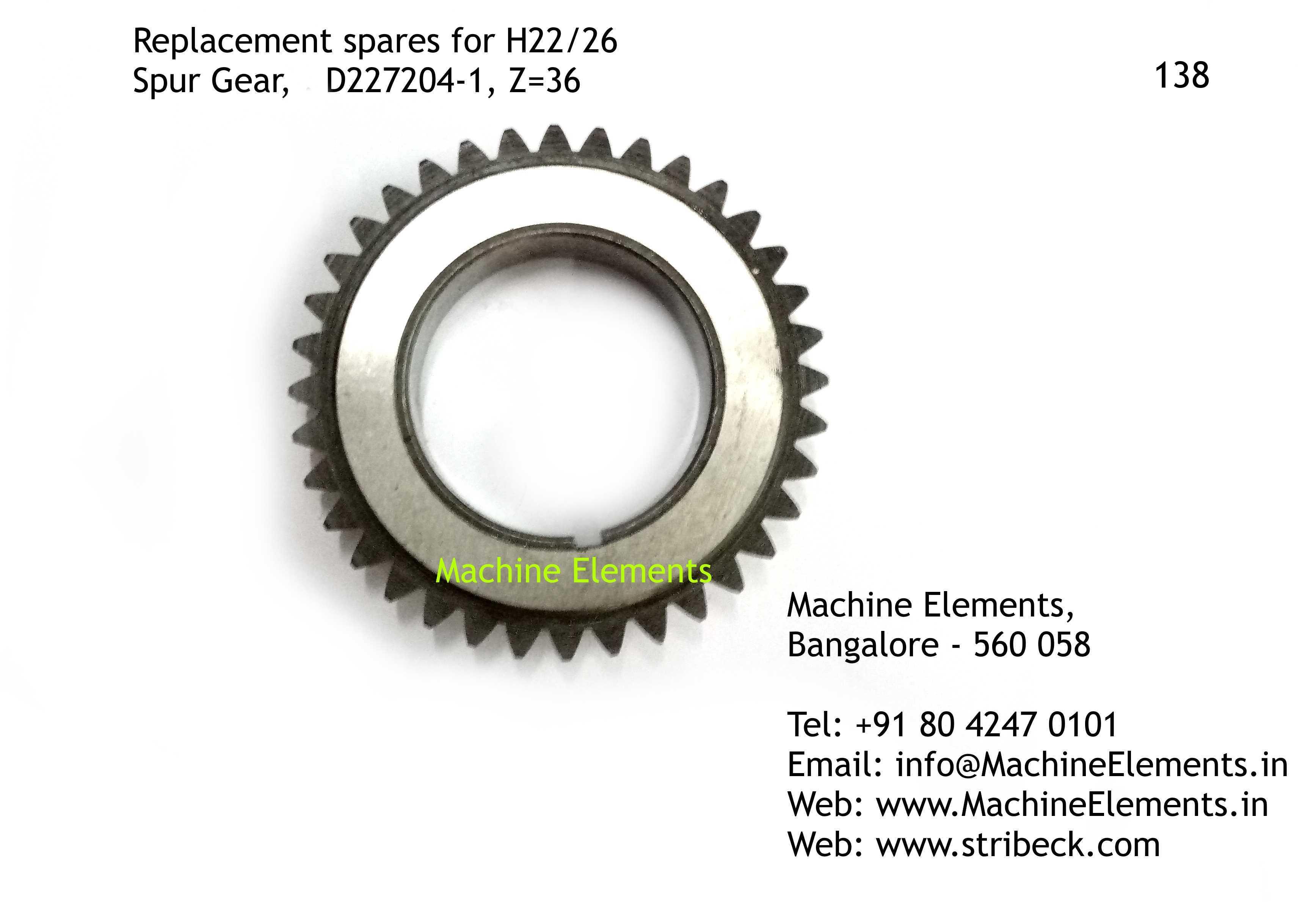 Spur Gear, D227204-1, Z=36