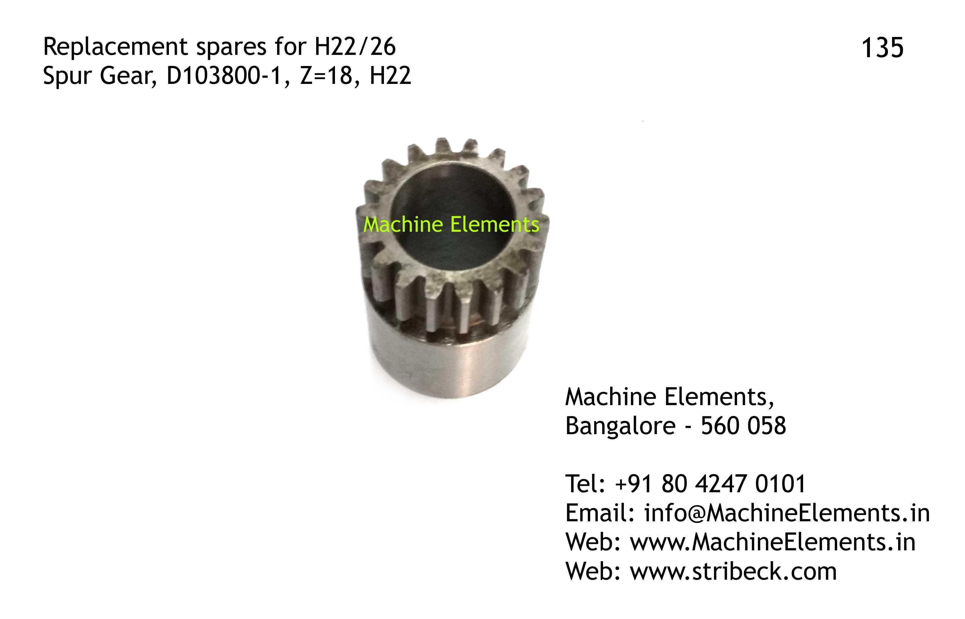 Spur Gear, D103800-1, Z=18