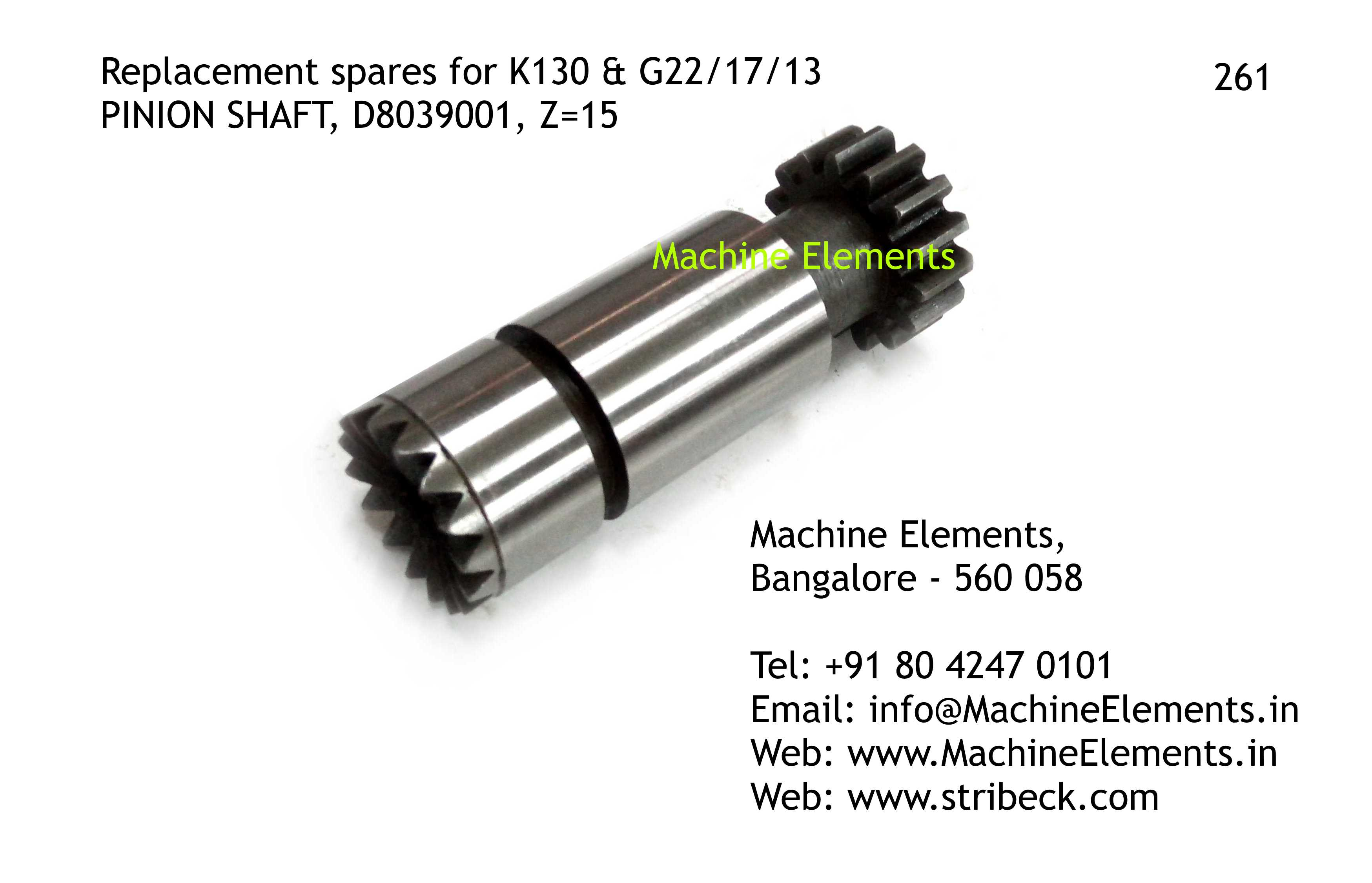 PINION SHAFT, D8039001, Z=15