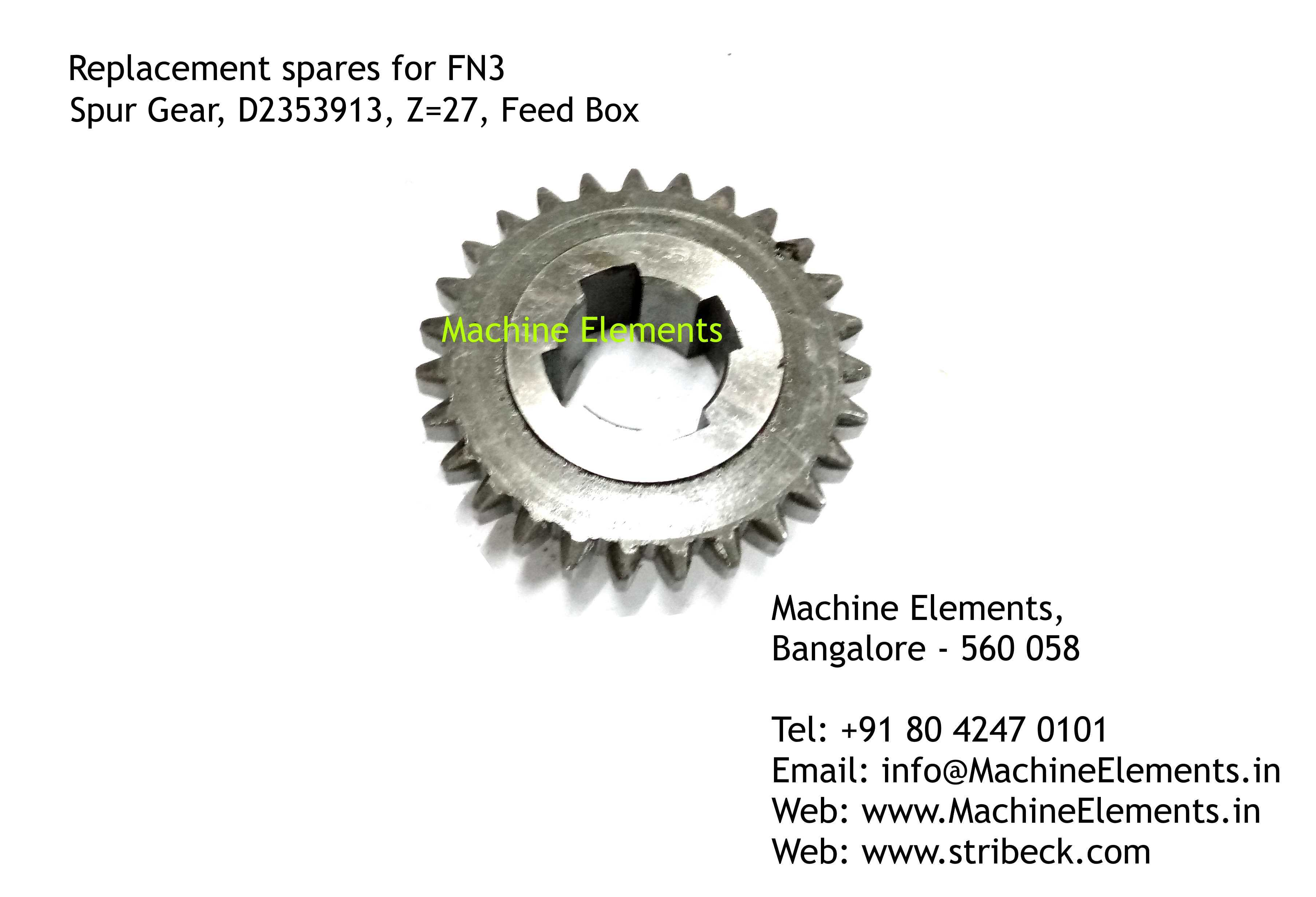 Spur Gear, D2353913, Z=27, Feed Box