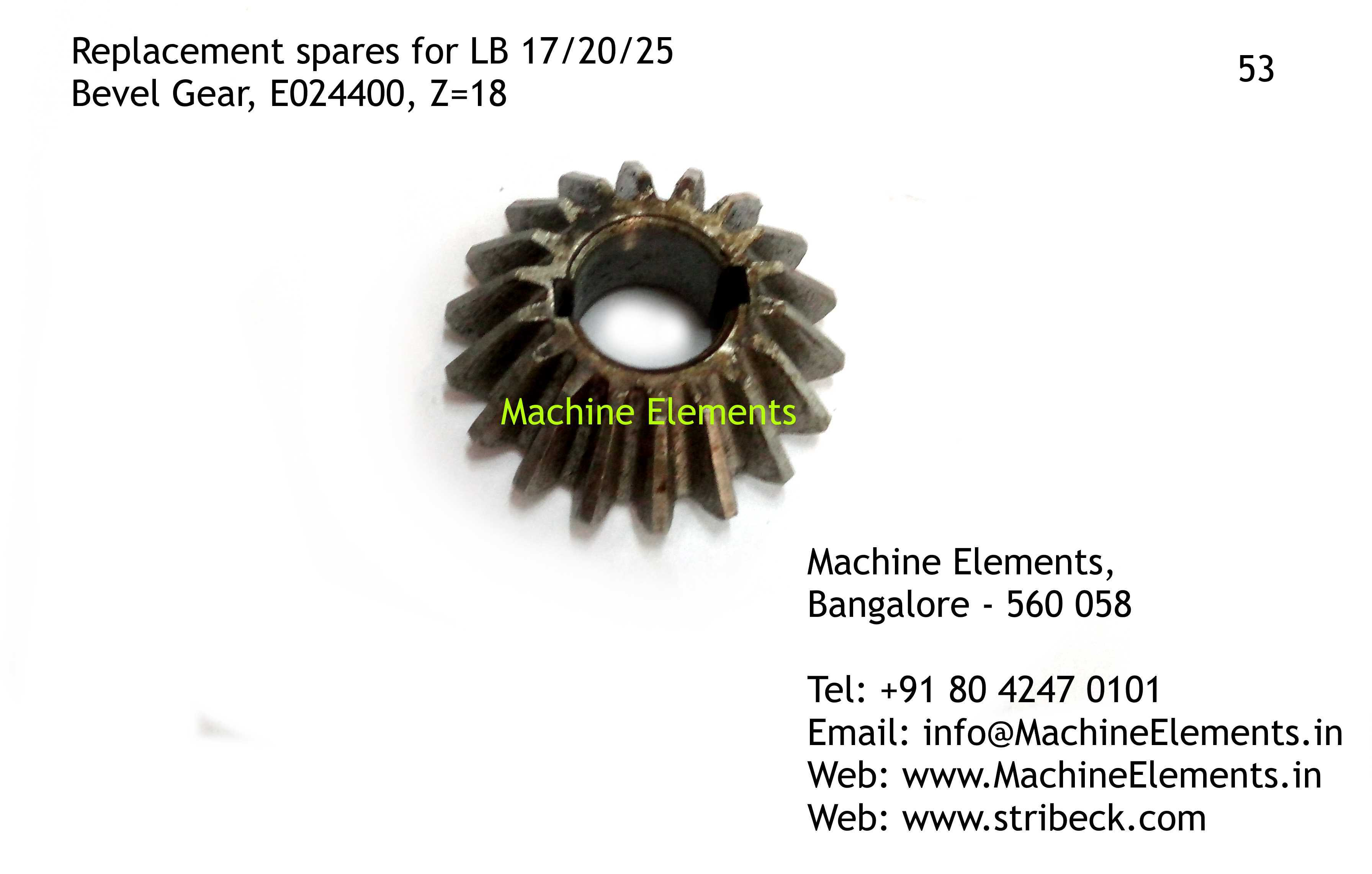 Bevel Gear, E024400, Z=18