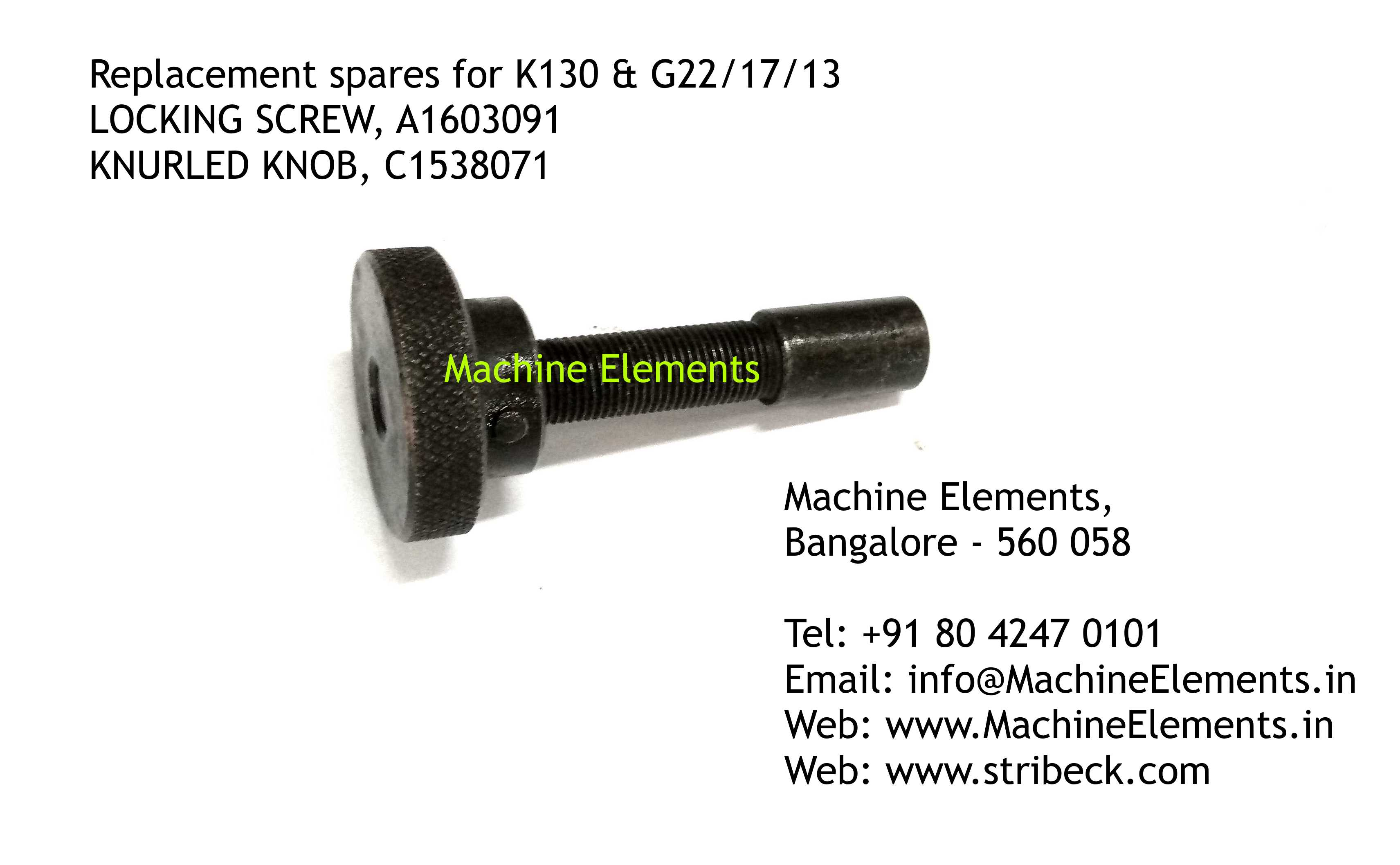 LOCKING SCREW A1603091, KNURLED KNOB C15